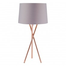 Copper Tripod Table Lamp with Grey Fabric Shade