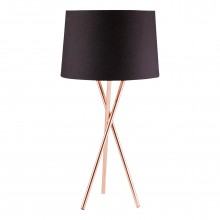 Copper Tripod Table Lamp with Black Fabric Shade