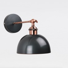 Galley Style Wall Lamp in Industrial Nickel Painted Finish with Antique Copper Detail