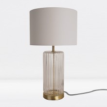 Fluted Design Table Lamp Finished in Clear Glass and Bronze Effect Colour with Grey Woven Cylinder Fabric Shade