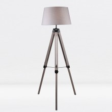 Grey Wash Tripod Wooden Floor Lamp with Black Painted Metal Details and Grey Fabric Shade