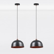 Pair of Industrial Nickel with Copper Detail Dome Pendants