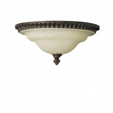 Walnut E27 60W Dimmable 330mm Diameter Flush