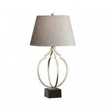 Ebonized Silver Leaf / Black 60W E27 Table Lamp with Grey Linen Shade