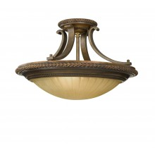 Firenze Gold/British Bronze E27 100W Dimmable 460mm Diameter Flush