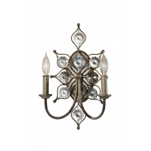 Burnished Silver E14 60W Dimmable Twin Wall Light
