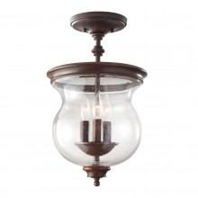 Heritage Bronze 40W E14 3 Light Semi-Flush