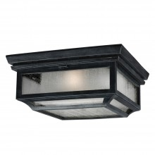 IP44 2 Light Flush Mount Dark Weathered Zinc