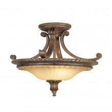 British Bronze 60W E27 2 Light Semi-Flush