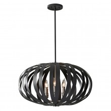 Textured Black 40W E14 6 Light Pendant