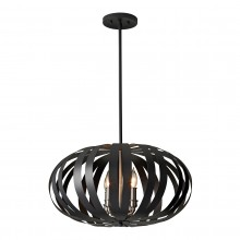 Textured Black 40W E14 4 Light Pendant