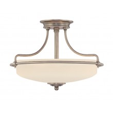Antique Nickel 100W E27 3 Light Semi-Flush