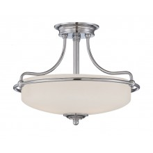 Chrome With Opal Glass 100W E27 432mm Diameter Semi-Flush