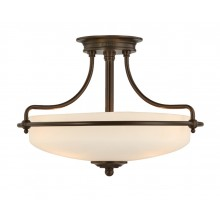 Palladian Bronze with Opal Glass 100W E27 432mm Diameter Semi-Flush