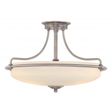 Antique Nickel 100W E27 4 Light Semi-Flush