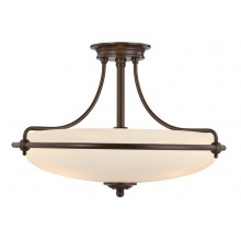 Palladian Bronze With Opal Glass 100W E27 533mm Diameter Semi-Flush
