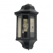 Black 60W E27 IP44 Half Wall Lantern