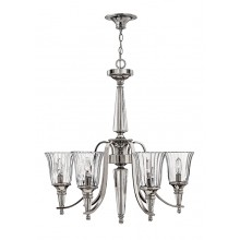 Sterling With Clear Glass 60W E14 Bathroom 5 Light Pendant