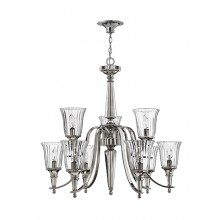 Sterling With Clear Glass 60W E14 Bathroom 9 Light Pendant