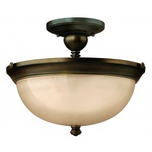 Old Bronze 75w E27 Dimmable 380mm Diameter Semi-Flush