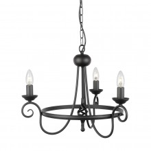 Black 60W E14 3 Light Pendant