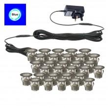 Set of 30 - 30mm Stainless Steel IP67 Blue LED Plinth Decking Kit