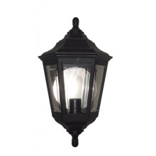 Black 100W E27 IP43 Double Insulated Traditional Garden Half Wall Lantern