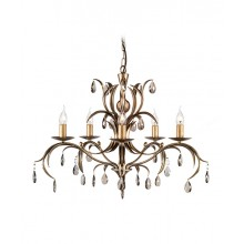 Metallic Bronze With Crystal Details 60W E14 5 Light Pendant