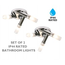 Modern Chrome Triple Bathroom Flush Ceiling Light IP44