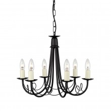 Black 60W E14 6 Light Pendant