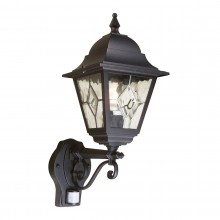 Black 100W E27 IP43 Garden Lantern With PIR