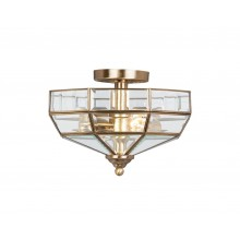 Antique Brass 60W E27 2 Light Semi-Flush