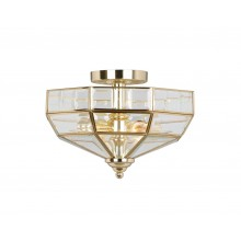 Brass 60W E27 2 Light Semi-Flush