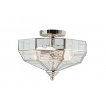 Nickel With Clear Glass 60W E27 2 Light Semi-Flush