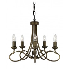 Black/Gold 60W E14 5 Light Pendant