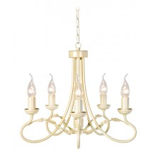 Ivory/Gold 60W E14 5 Light Pendant