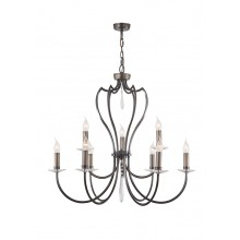 Dark Bronze With Crystal Details 60W E14 9 Light Pendant