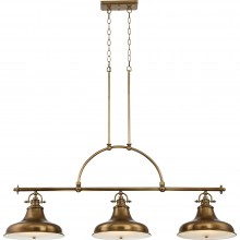 3 Light Island Chandelier Weathered Brass