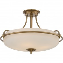4 Light Semi-Flush Mount Weathered Brass