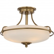 3 Light Semi-Flush Mount Weathered Brass