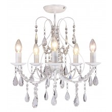 White 5 Light Crystal Chandelier