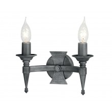 Black And Silver 60W E14 Twin Wall Light