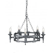 Black And Silver 60W E14 5 Light Pendant