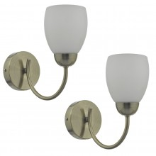 Set of 2 Antique Brass Wall Lights