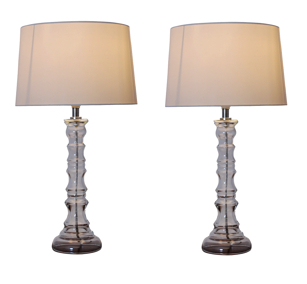 Pair of modern clear glass candlestick bedside table lamps for Bedside table lamp shades