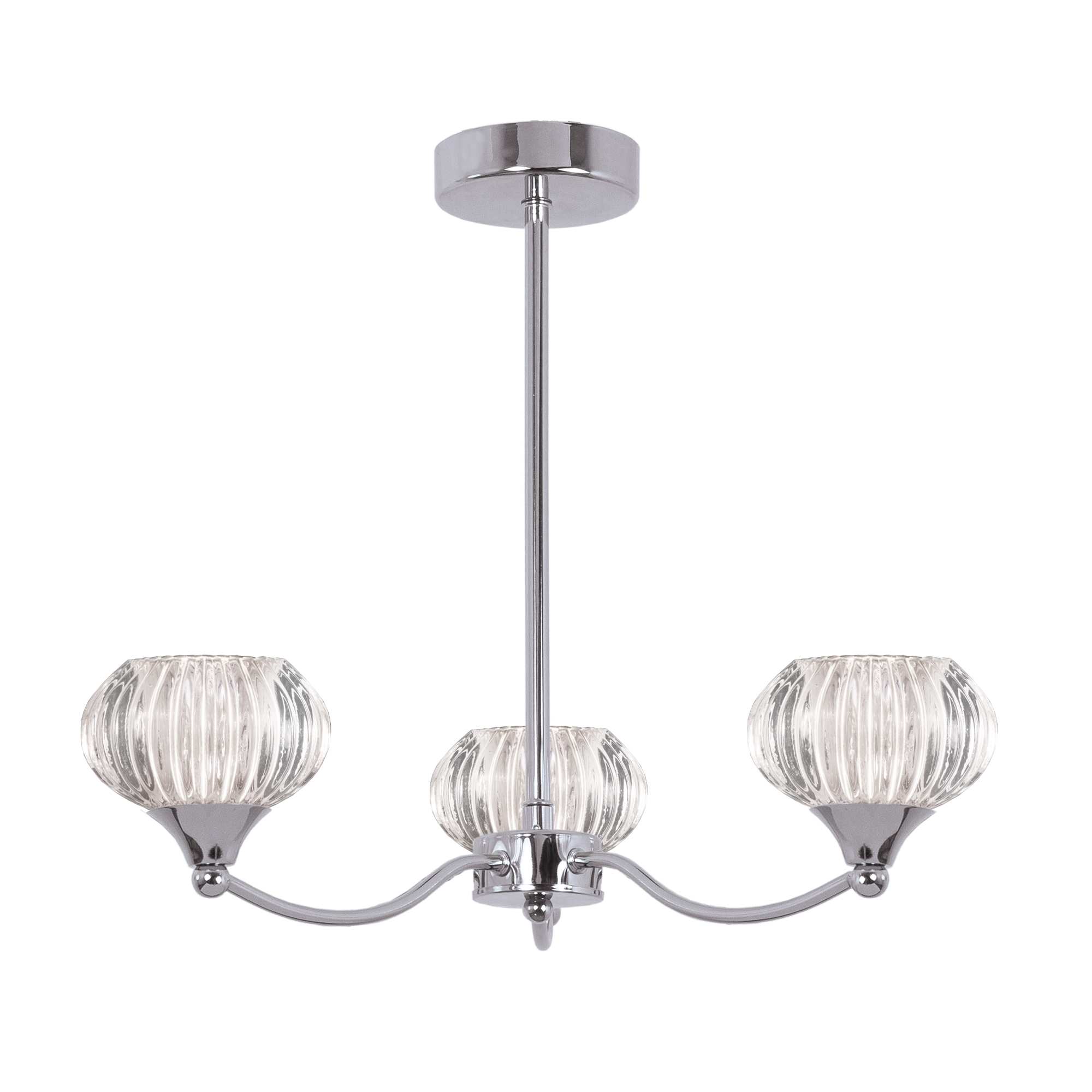 Chrome 3 Light Ceiling Pendant Light With Ribbed Glass