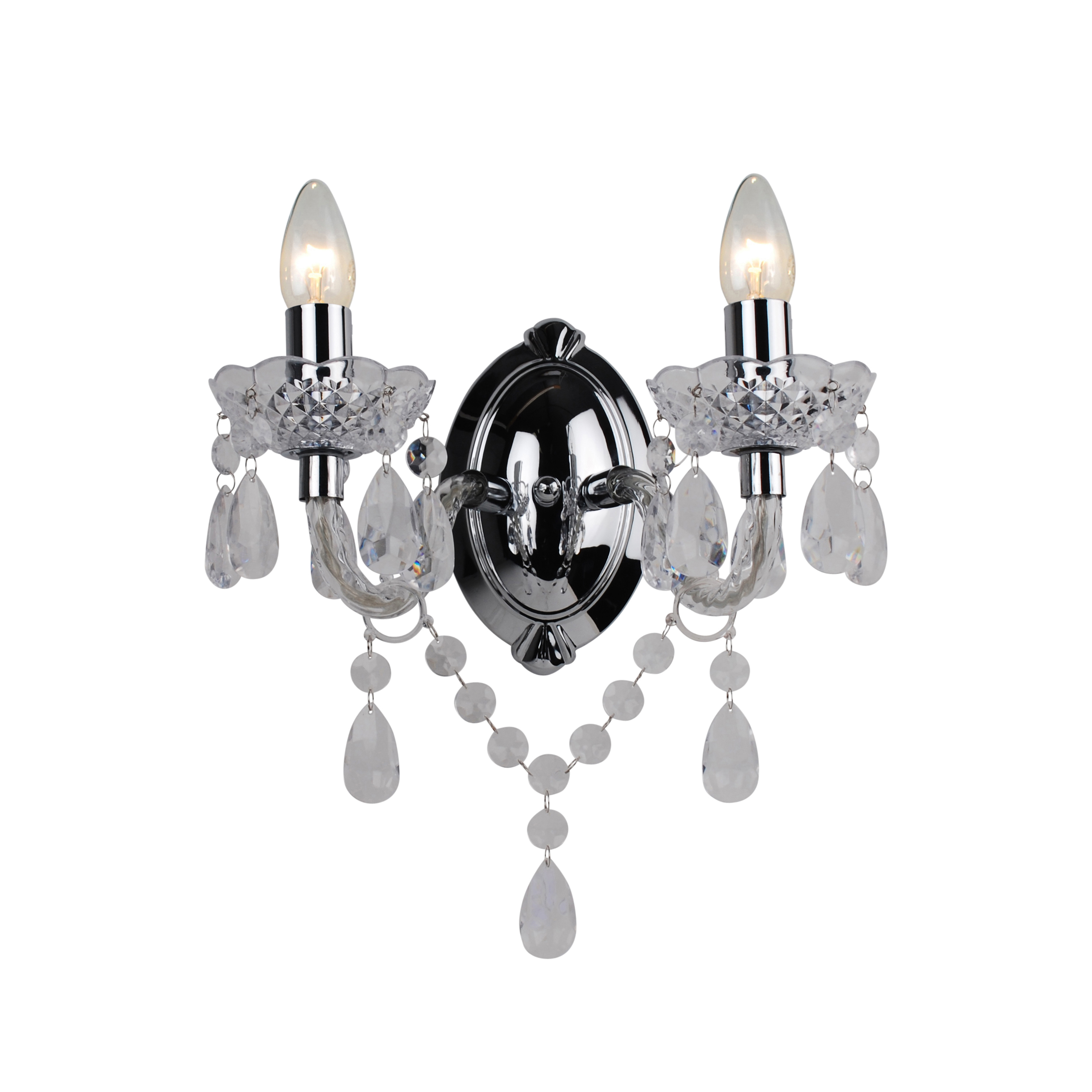 Marie Therese Wall Lights Chrome : MARIE THERESE 2 LIGHTS Clear & CHROME WALL BRACKET CHANDELIER LIGHT eBay