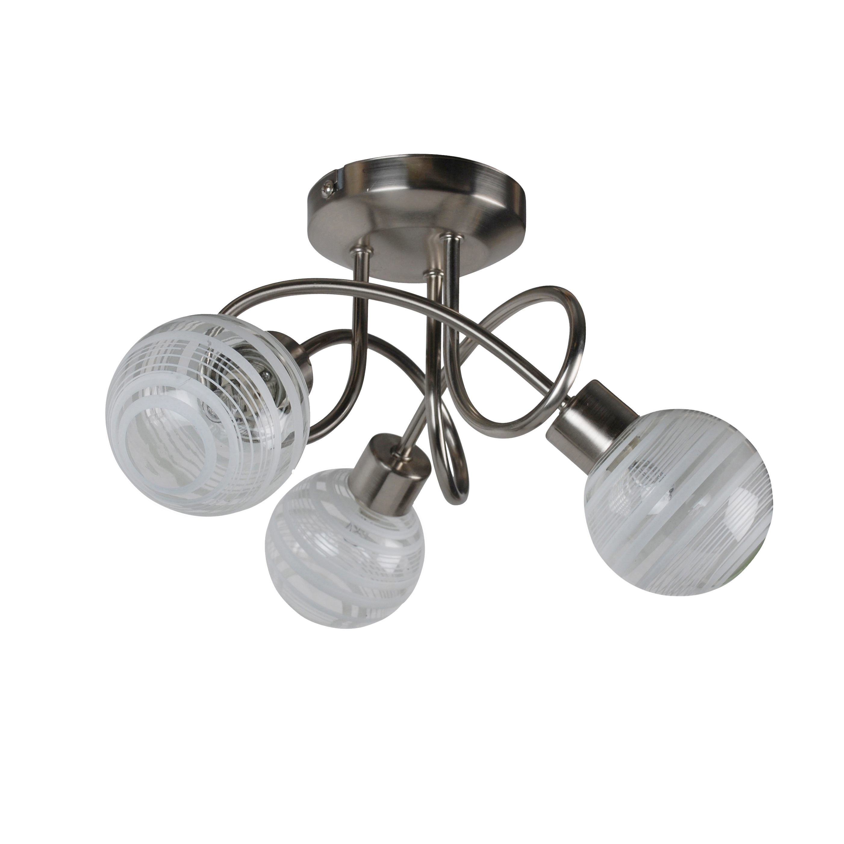 3 Bar Pendant Light Hanging Chrome Effect 3 Way Mounted: Modern Silver Satin Chrome 3 Way Multi Arm Spiral Ceiling