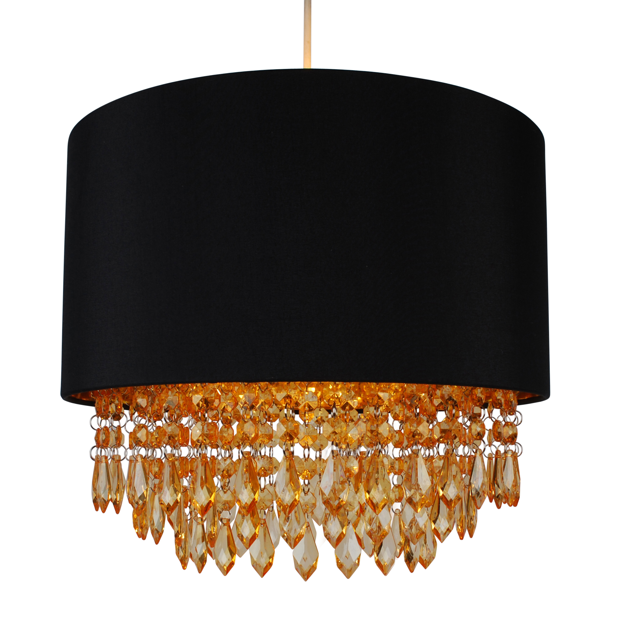 Modern Easy Fit Drum Shade Black Fabric Ceiling Pendant