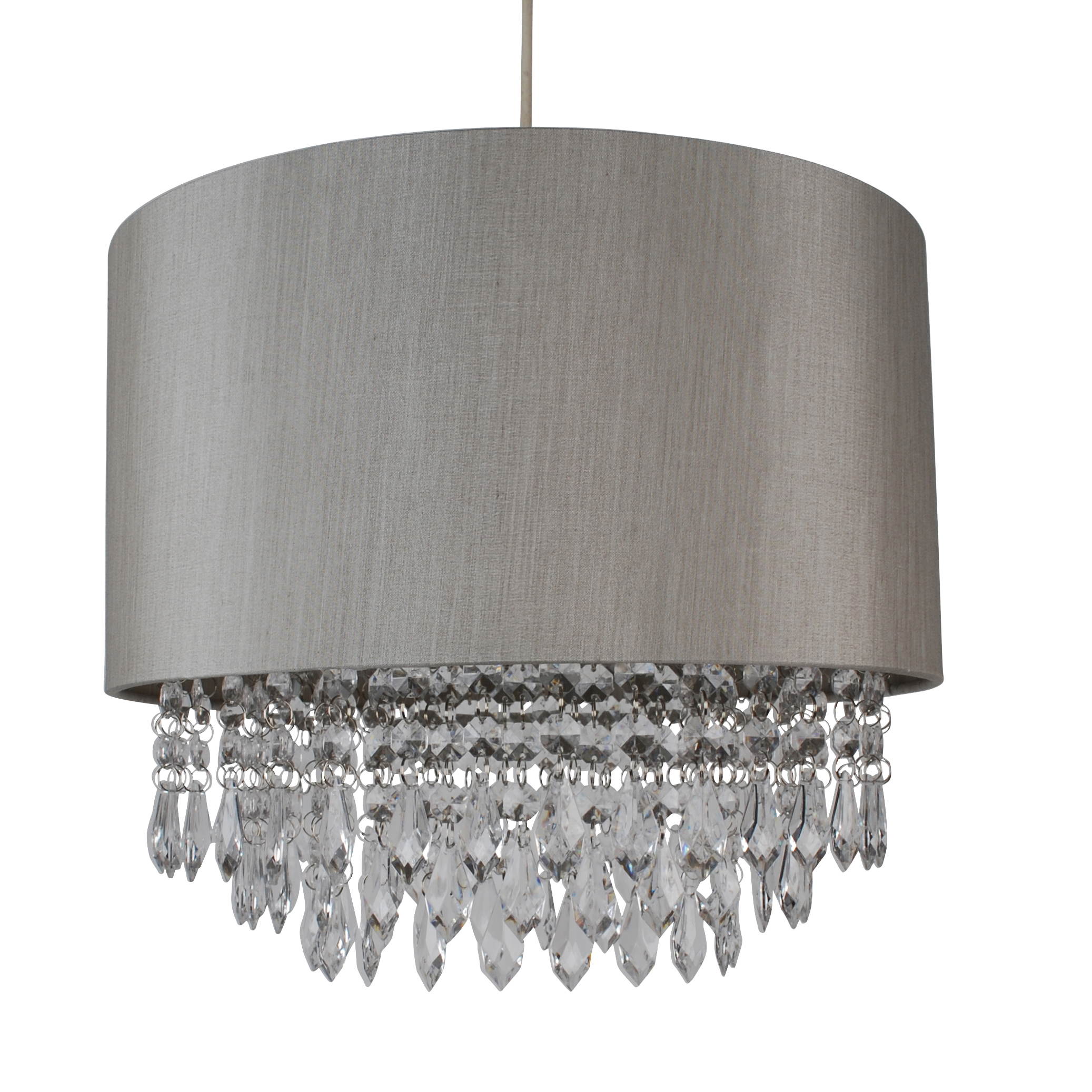 Modern easy fit drum shade silver fabric ceiling pendant light shade modern easy fit drum shade silver fabric ceiling pendant light shade chandelier aloadofball Images